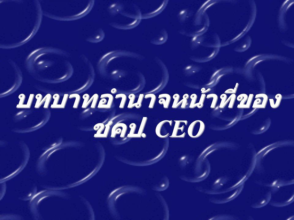 บทบาทอำนาจหน้าที่ของ ชคป. CEO