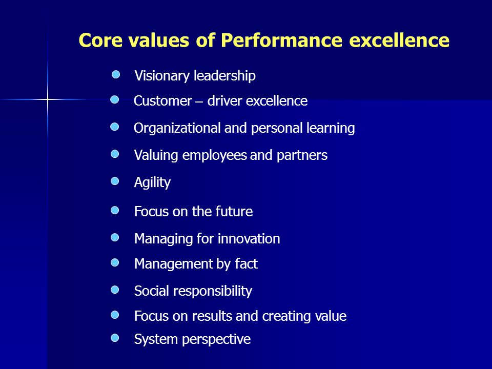 Core values of Performance excellence