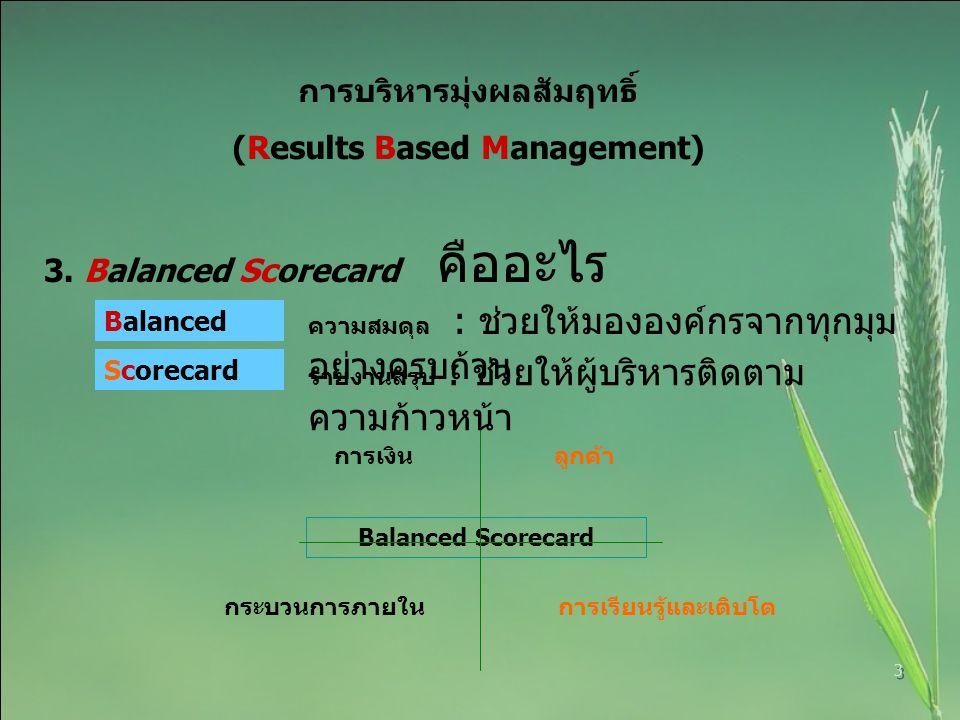 การบริหารมุ่งผลสัมฤทธิ์ (Results Based Management)