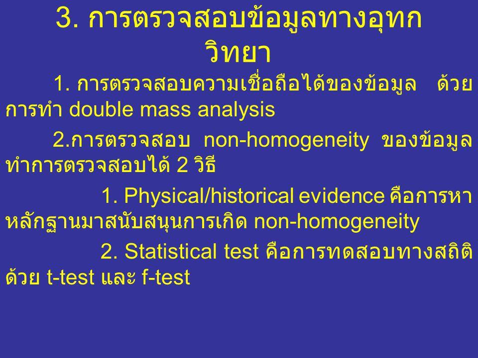 3. การตรวจสอบข้อมูลทางอุทกวิทยา