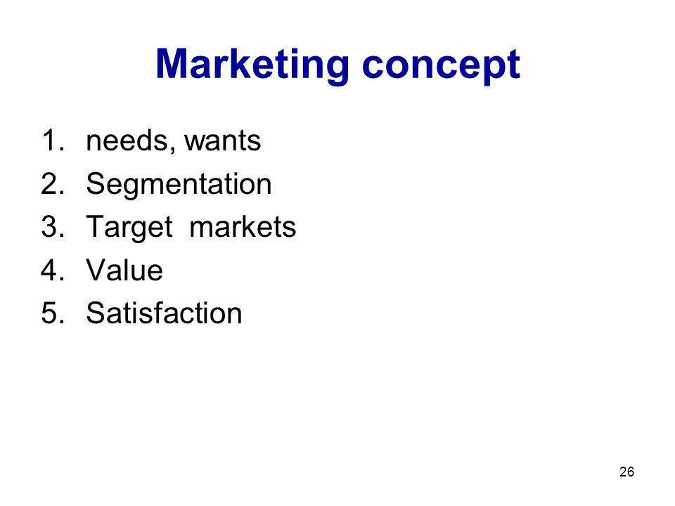 Marketing concept needs, wants Segmentation Target markets Value