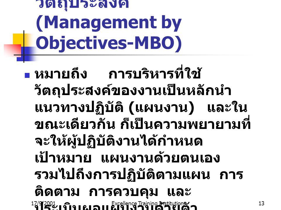 การบริหารงานโดยวัตถุประสงค์ (Management by Objectives-MBO)