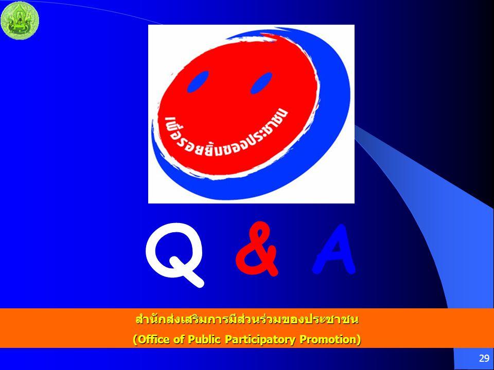 Q & A สำนักส่งเสริมการมีส่วนร่วมของประชาชน