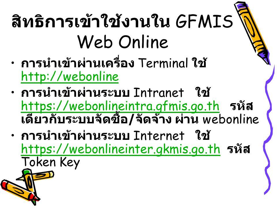 สิทธิการเข้าใช้งานใน GFMIS Web Online