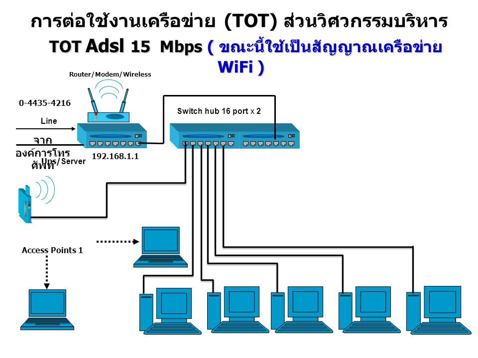 การต่อใช้งานเครือข่าย (TOT) ส่วนวิศวกรรมบริหาร