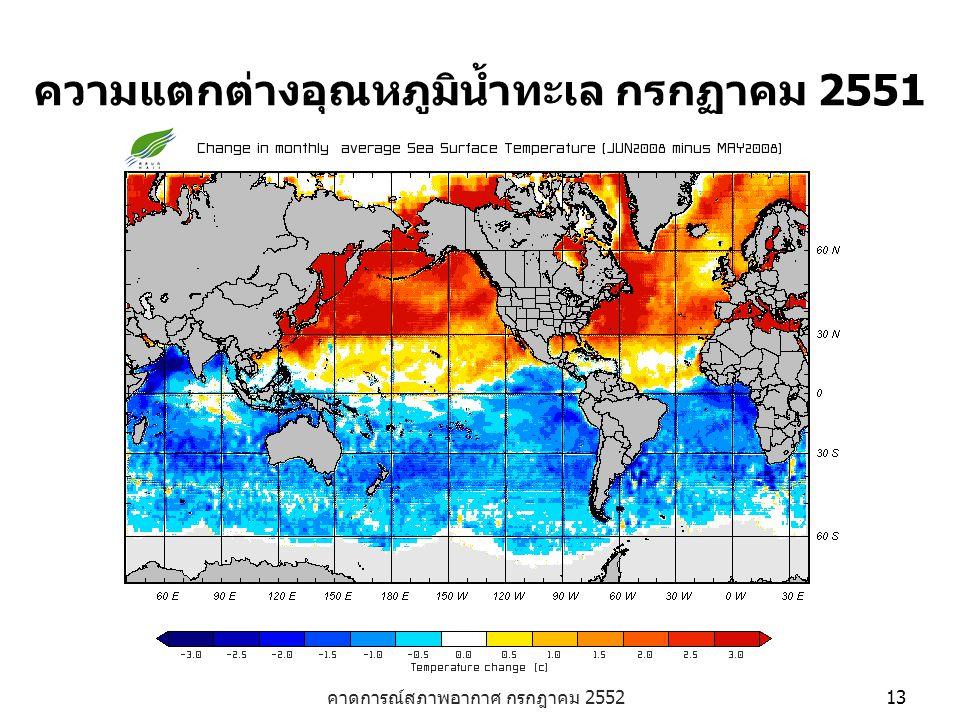 ความแตกต่างอุณหภูมิน้ำทะเล กรกฏาคม 2551