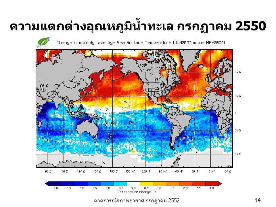 ความแตกต่างอุณหภูมิน้ำทะเล กรกฏาคม 2550