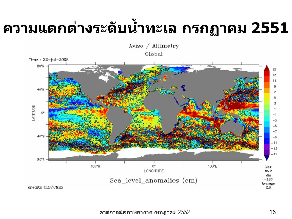 ความแตกต่างระดับน้ำทะเล กรกฏาคม 2551