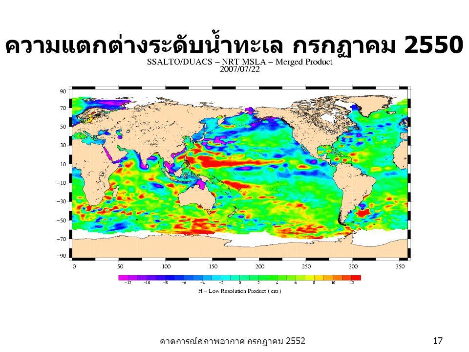 ความแตกต่างระดับน้ำทะเล กรกฏาคม 2550
