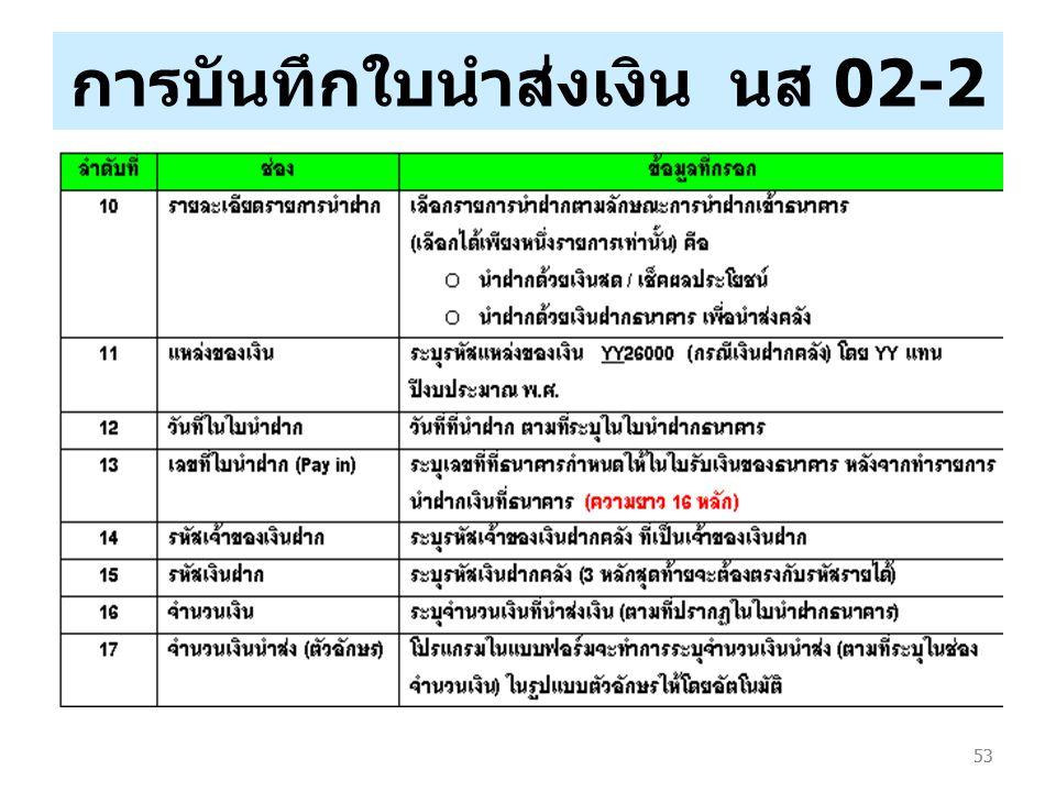 การบันทึกใบนำส่งเงิน นส 02-2