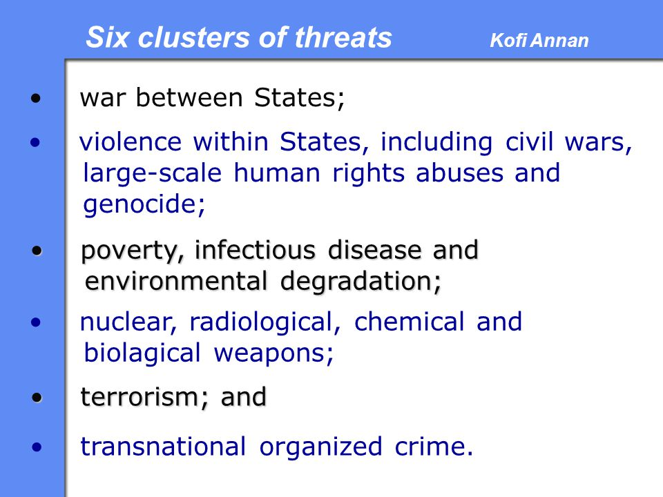 Six clusters of threats Kofi Annan
