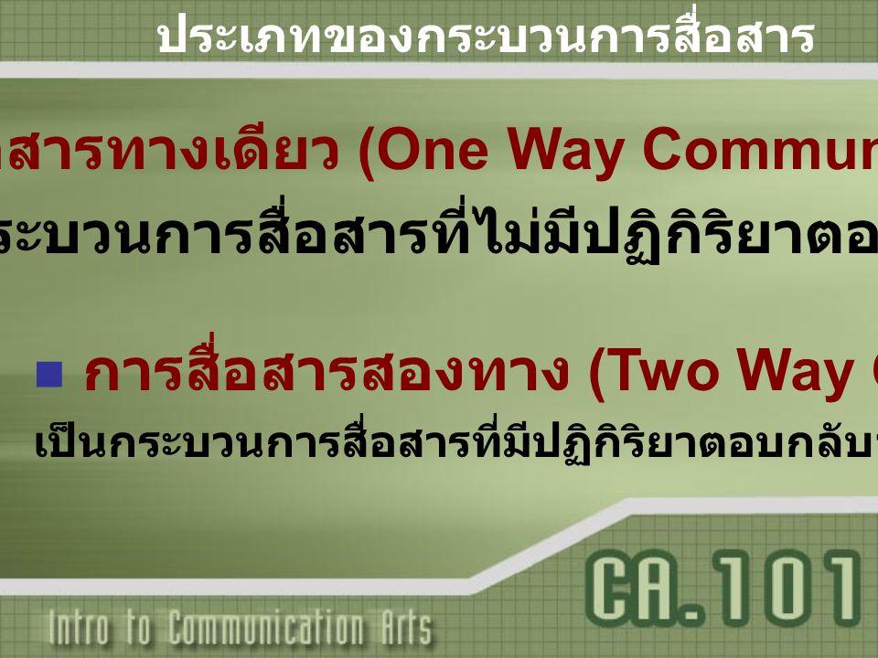 การสื่อสารทางเดียว (One Way Communication)