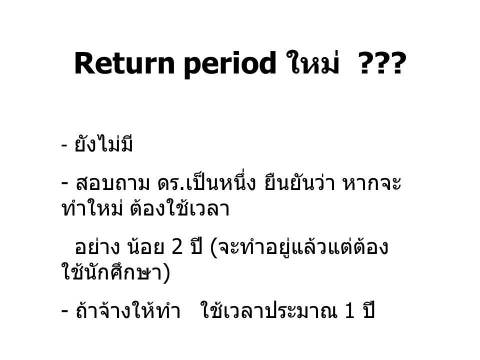 Return period ใหม่ ยังไม่มี สอบถาม ดร.เป็นหนึ่ง ยืนยันว่า หากจะทำใหม่ ต้องใช้เวลา. อย่าง น้อย 2 ปี (จะทำอยู่แล้วแต่ต้องใช้นักศึกษา)