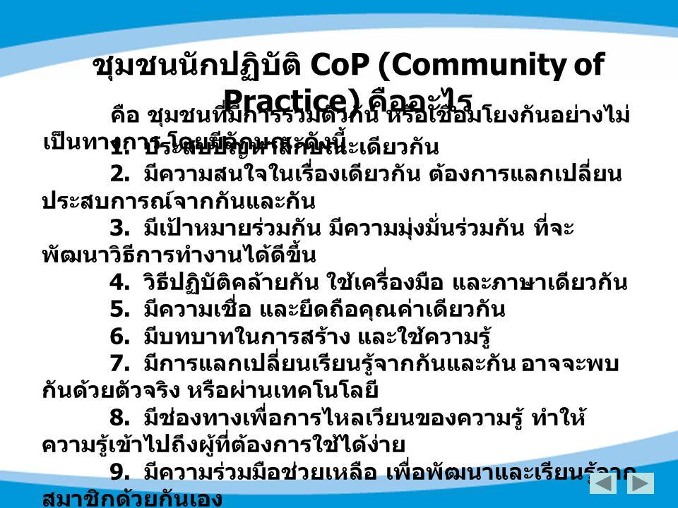 ชุมชนนักปฏิบัติ CoP (Community of Practice) คืออะไร
