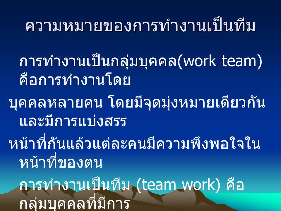 ความหมายของการทำงานเป็นทีม