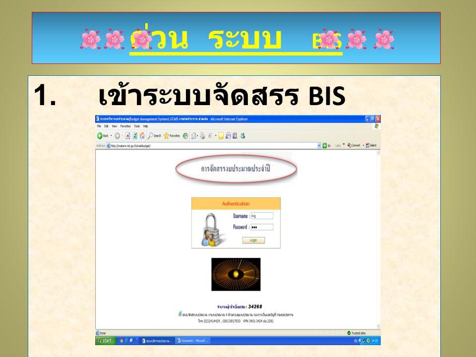ด่วน ระบบ BIS ด่วน ระบบ BIS 1. เข้าระบบจัดสรร BIS