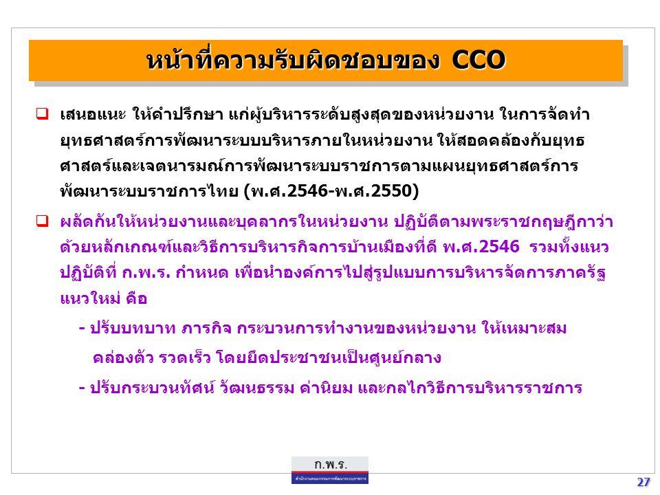 หน้าที่ความรับผิดชอบของ CCO