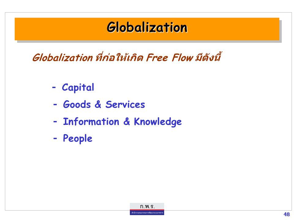 Globalization Globalization ที่ก่อให้เกิด Free Flow มีดังนี้ - Capital