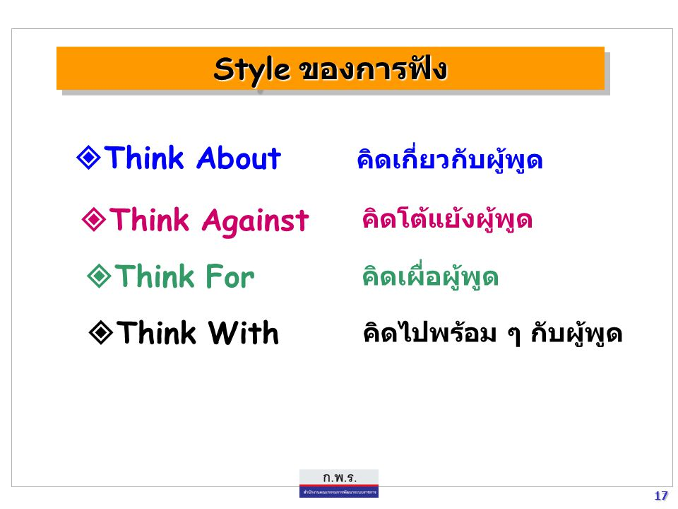 Style ของการฟัง Think About Think Against Think For Think With