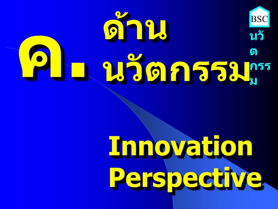 ค. ด้าน นวัตกรรม BSC นวัต กรรม Innovation Perspective