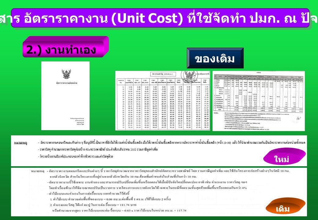 เอกสาร อัตราราคางาน (Unit Cost) ที่ใช้จัดทำ ปมก. ณ ปัจจุบัน