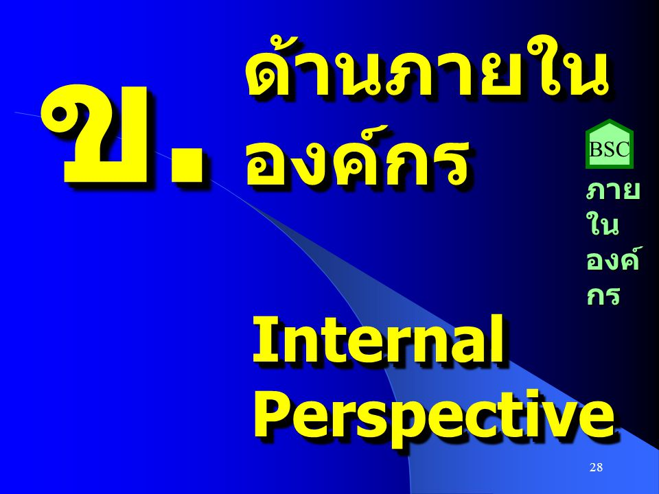 ข. ด้านภายใน องค์กร BSC ภายในองค์กร Internal Perspective