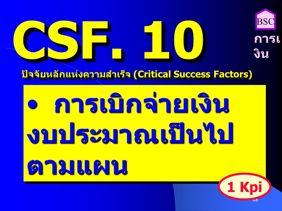 CSF. 10 การเบิกจ่ายเงิน งบประมาณเป็นไปตามแผน 1 Kpi การเงิน BSC