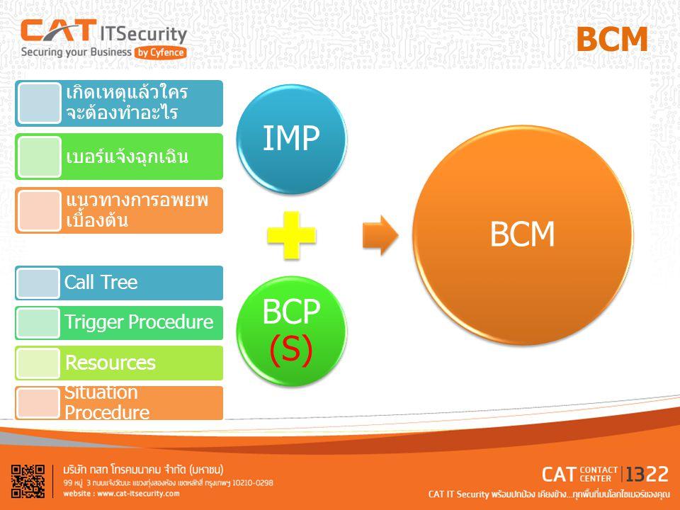 IMP BCM BCP(S) BCM Resources เกิดเหตุแล้วใครจะต้องทำอะไร