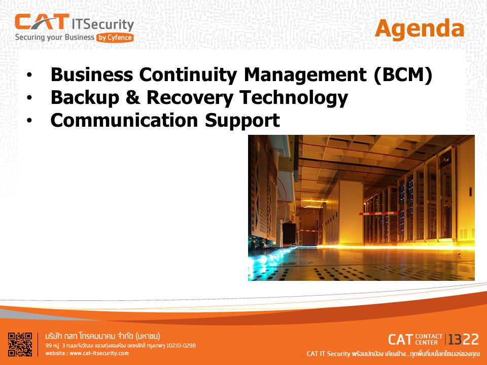 Agenda Business Continuity Management (BCM)