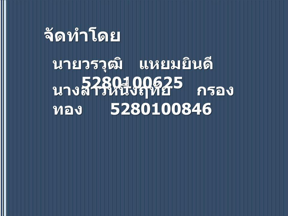 จัดทำโดย นายวรวุฒิ แหยมยินดี 5280100625