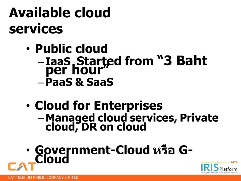 Available cloud services
