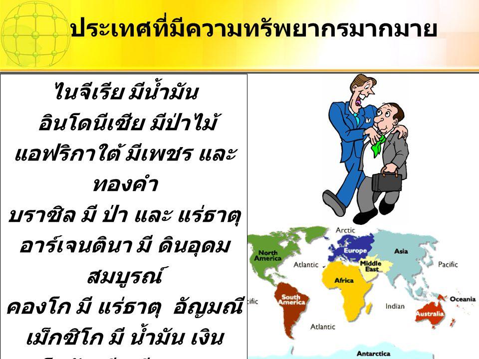 ประเทศที่มีความทรัพยากรมากมาย