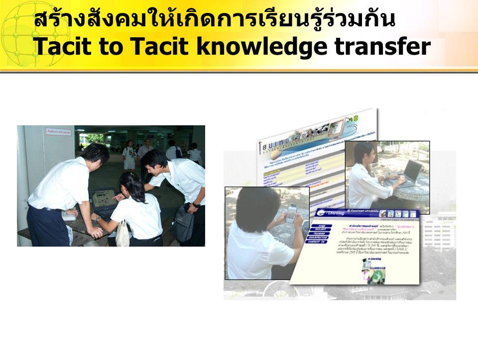 สร้างสังคมให้เกิดการเรียนรู้ร่วมกัน Tacit to Tacit knowledge transfer