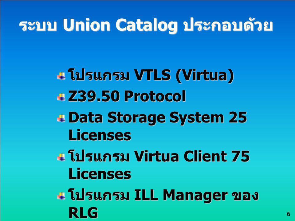 ระบบ Union Catalog ประกอบด้วย