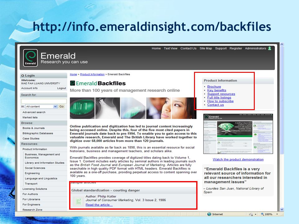 http://info.emeraldinsight.com/backfiles ดูข้อมูลบทความ