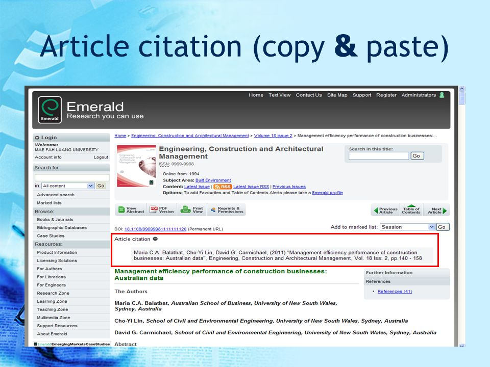 Article citation (copy & paste)