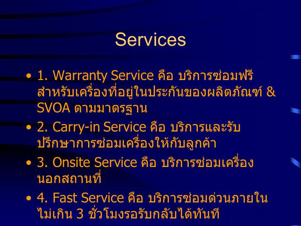 Services 1. Warranty Service คือ บริการซ่อมฟรีสำหรับเครื่องที่อยู่ในประกันของผลิตภัณฑ์ & SVOA ตามมาตรฐาน.