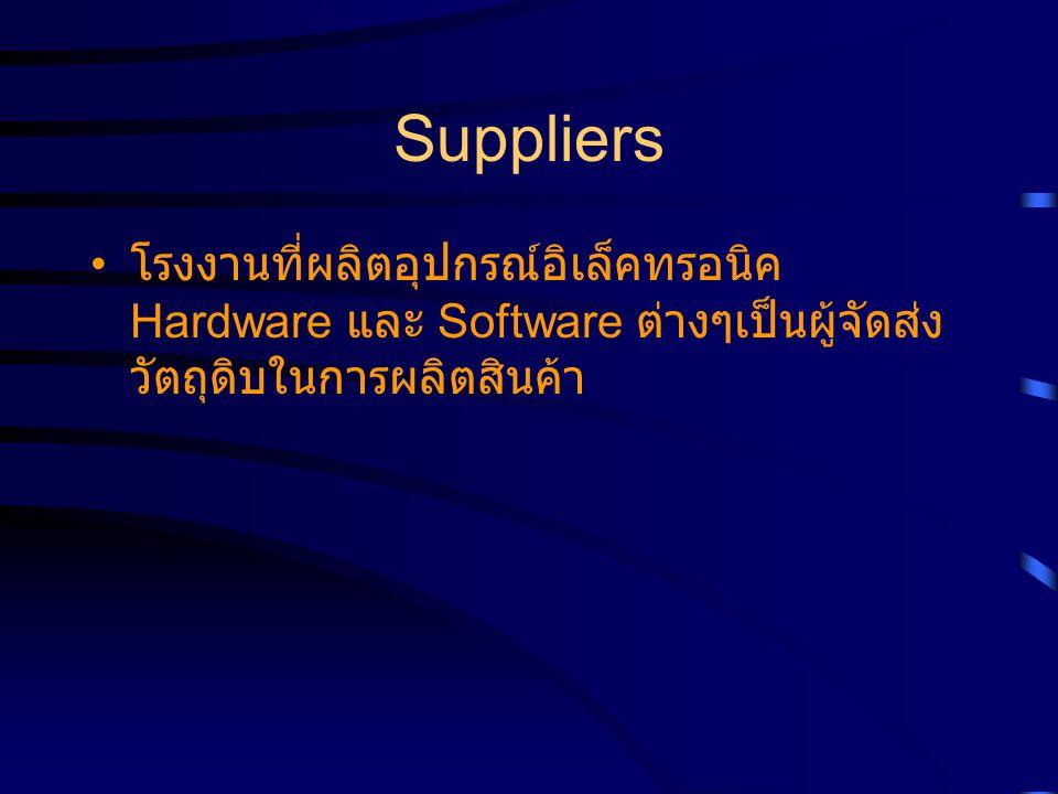 Suppliers โรงงานที่ผลิตอุปกรณ์อิเล็คทรอนิค Hardware และ Software ต่างๆเป็นผู้จัดส่งวัตถุดิบในการผลิตสินค้า.