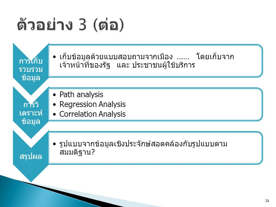 ตัวอย่าง 3 (ต่อ) การเก็บรวบรวมข้อมูล