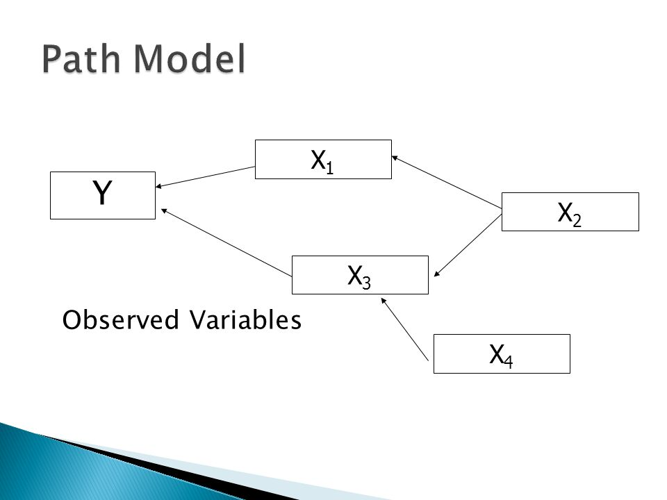 Path Model X1 Y X2 X3 Observed Variables X4