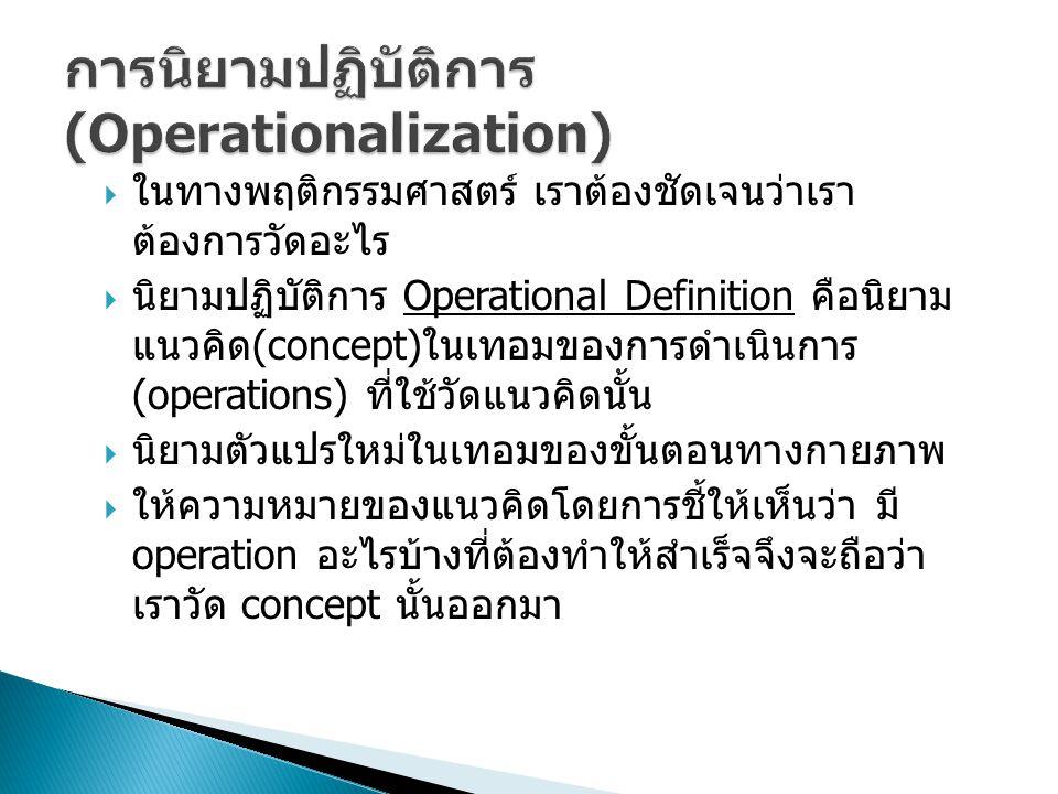การนิยามปฏิบัติการ (Operationalization)