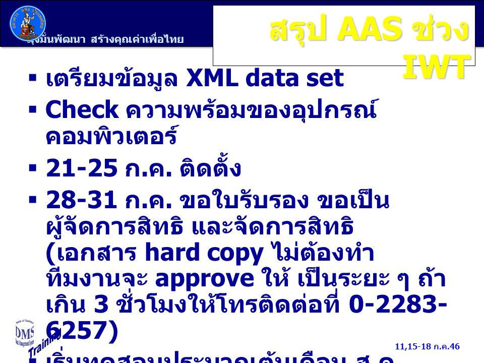 สรุป AAS ช่วง IWT เตรียมข้อมูล XML data set
