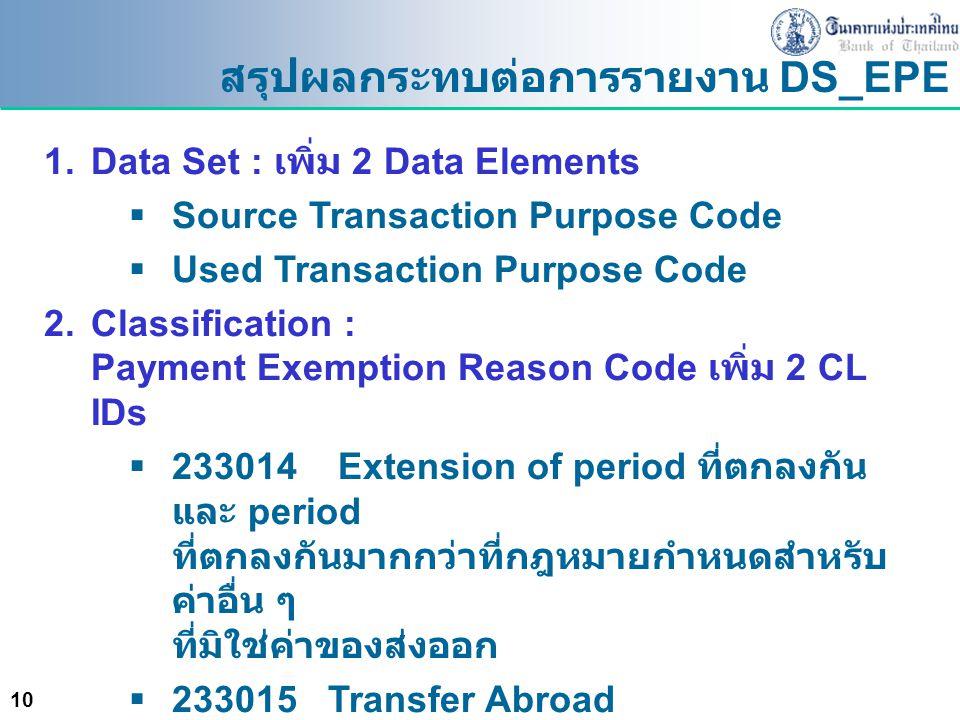 สรุปผลกระทบต่อการรายงาน DS_EPE
