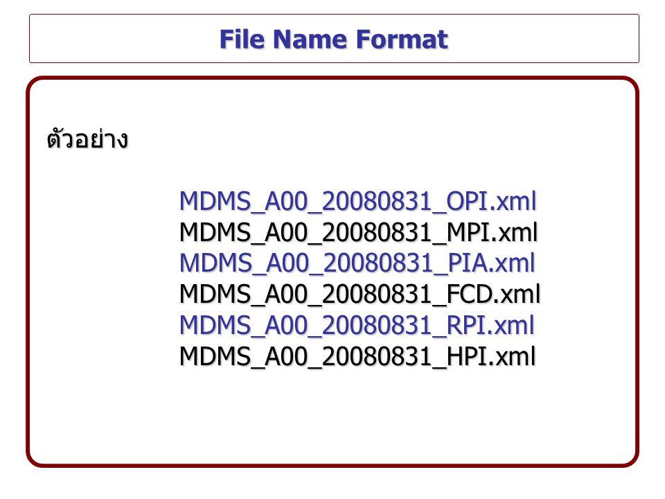 File Name Format ตัวอย่าง. MDMS_A00_20080831_OPI.xml. MDMS_A00_20080831_MPI.xml. MDMS_A00_20080831_PIA.xml.