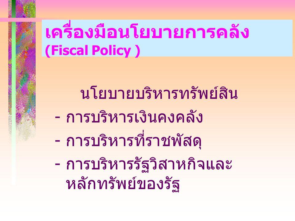 เครื่องมือนโยบายการคลัง (Fiscal Policy )