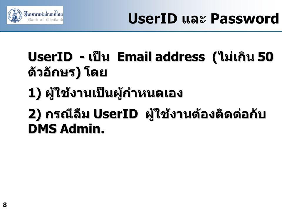 UserID และ Password UserID - เป็น Email address (ไม่เกิน 50 ตัวอักษร) โดย. 1) ผู้ใช้งานเป็นผู้กำหนดเอง.