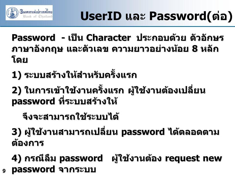 UserID และ Password(ต่อ)