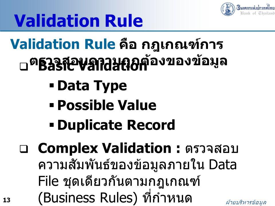 Validation Rule Validation Rule คือ กฎเกณฑ์การตรวจสอบความถูกต้องของข้อมูล. Basic Validation. Data Type.