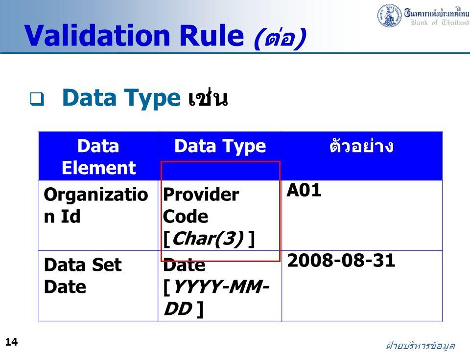 Validation Rule (ต่อ) Data Type เช่น Data Element Data Type ตัวอย่าง