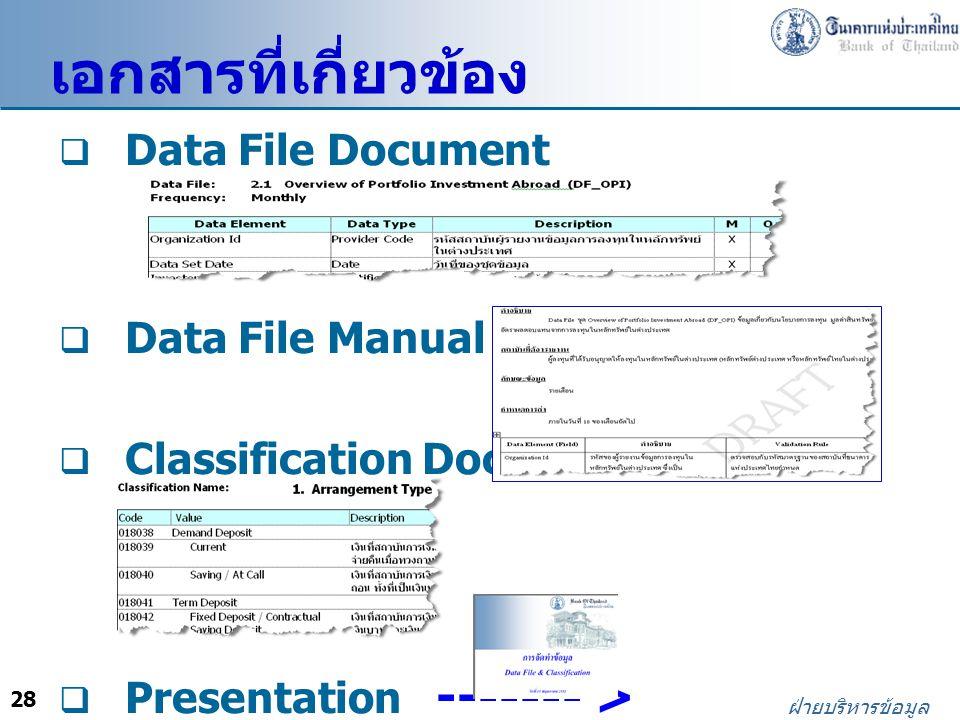 เอกสารที่เกี่ยวข้อง Data File Document Data File Manual ------- >
